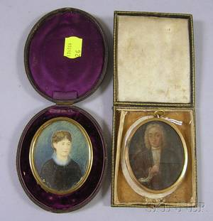 Framed 18th Century Miniature Painted Portrait of Gentleman on Tin and a Framed Miniature Pen and Watercolor Po