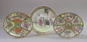 Two Chinese Export Porcelain Oval Rose Medallion Platters and a Chinese Export Circular Enamel Figural Decorate