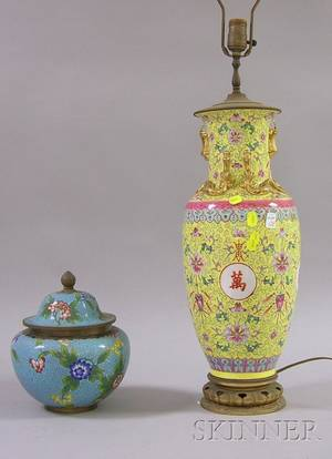 Chinese Export Porcelain VaseTable Lamp and Chinese Export Cloisonne Urn with Cover