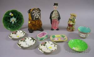 Ten Majolica Glazed Items and a Painted Ceramic Figural Tobacco Humidor