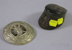 Scottish Silvermounted Hoof Snuff Box and a Regimental Cast Metal Pin