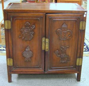 Chinese Export Carved Hardwood TwoDoor Cabinet