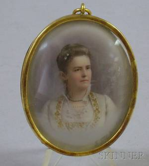 Late19thEarly 20th Century Miniature Painted Portrait of a Woman on Porcelain