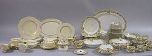 Fiftyone Piece Haviland Limoges Transfer Decorated Porcelain Partial Dinner Set and a Thirtypiece Lenox Gilt Imperial Pattern Porcela