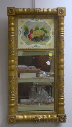 Classicalstyle Goldpainted Splitbaluster Mirror with Reversepainted Glass Tablet Depicting a Floral Still Life