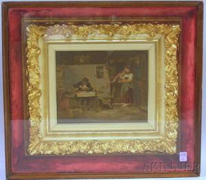 Rococo Giltgesso and Woodframed Enhanced Continental Interior Genre Scene Print in a Shadow Box Frame