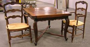 French Provincial Carved Oak Extension Dining Table and a Pair of French Provincial Carved Beechwood Side Chairs