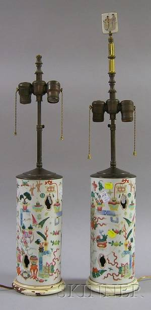 Pair of 19th Century Chinese Hat Stands Converted to Lamps