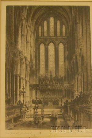 Framed Offset Print Reproduction of the Chancel Ely Cathedral After Albany E Howard
