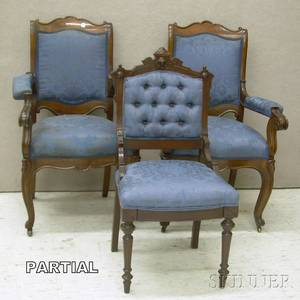 Set of Four Victorian Rococo Revival Upholstered Parlor Armchairs and a Pair of Renaissance Revival Upholstered