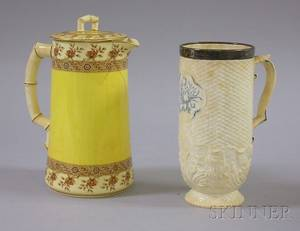 Sterling Silvermounted Coalport Jug and a Royal Worcester Pitcher