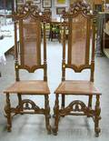 Near Pair of Jacobeanstyle Caned Carved Beechwood and Oak Hall Chairs