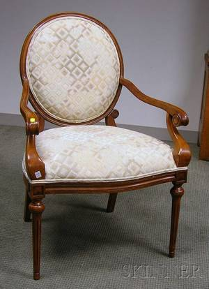 Louis XVI Style Upholstered Carved Beechwood Parlor Armchair
