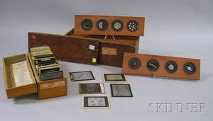 Set of Twelve Woodframed Handcolored Glass FourImage Astronomy Magic Lantern Slides and Thirty Assorted Glass Projection Slides