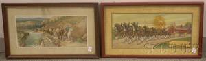 Pair of AnheuserBusch Brewing Assn Chromolithograph Advertising Prints and a Genesee Brewing Co Chromolithog