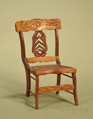 American Miniature Maple and Oak Caned Side Chair