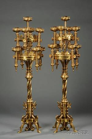 Pair of Gothic Revival Brass NineLight Floor Candelabra