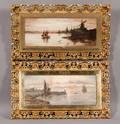 Continental School 19th Century Two Harbor Views
