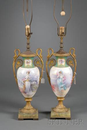 Pair of Sevresstyle Gilt Metal Mounted Porcelain Lamp Bases