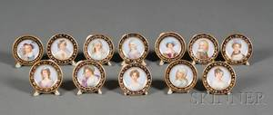 Set of Twelve Dresden Porcelain Place Card Holders