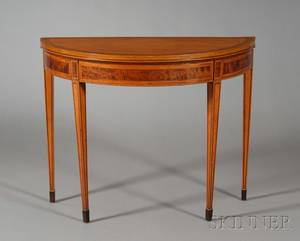 George III Mahogany Crossbanded Satinwood Demilune Game Table