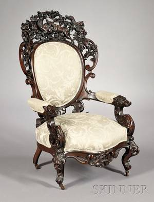 Fine Victorian Carved Rosewood Master of the Hunt Parlor Armchair