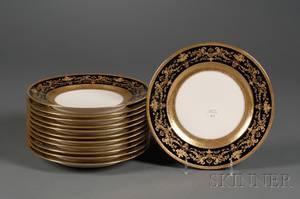 Set of Twelve Limoges Porcelain Service Plates