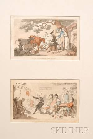 Two Handtinted Rowlandson Doctor Syntax Book Plate Engravings