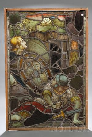 Large Leaded Stained Glass Window Fragment