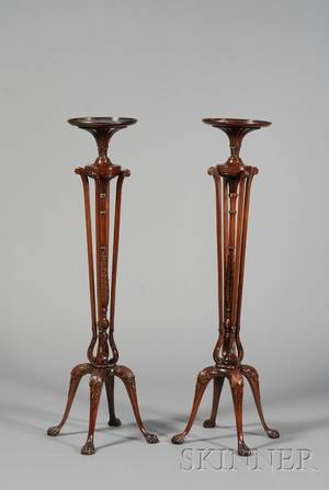 Pair of Chippendalestyle Mahogany Torchieres