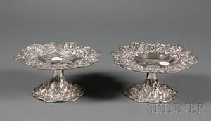 Pair of S Kirk  Son Inc Sterling Repousse Tazzae