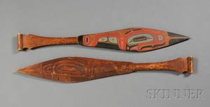 Two Northwest Coast Carved and Painted Wood Paddles