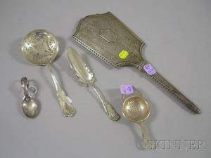 Five Silver Serving and Vanity Items