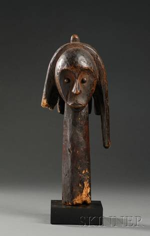 African Carved Wood Head