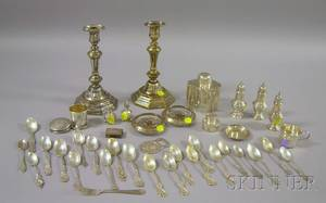 Approximately Thirtyeight Pieces of Sterling and Silver Plated Items
