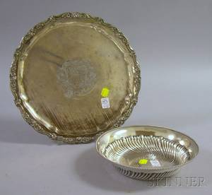 800 Silver Round Tray and a International Sterling Silver Bowl
