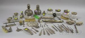 Large Group of Mostly Sterling Silver Victorian Dresser Items