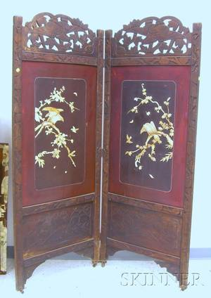 Chinese Carved Wood TwoPart Floor Screen with Carved Bone Bird and Floral Decorated Lacquered Panels