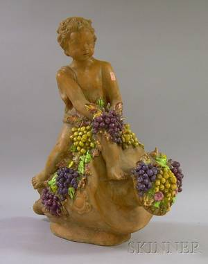 Glazed Terracotta Cherub with Grapes and Urn Garden Figure
