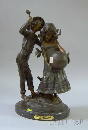 Patinated Bronze Sculpture Boy  Girl with Ball
