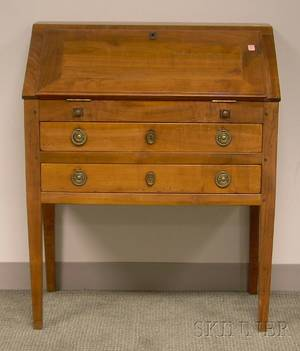 Diminutive Provincial Fruitwood Slantlid Writing Desk