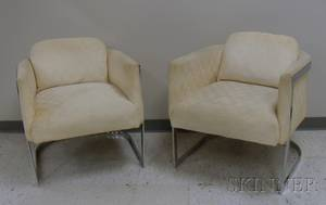 Pair of Modern Upholstered Bent Steel Tub Chairs