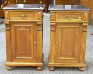 Pair of Victorian Marbletop Carved Walnut Commode Stands