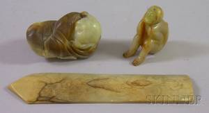 Two Chinese Carved Jade Figurals and a Carved Jade Tablet
