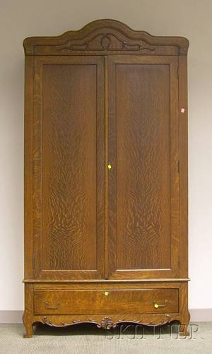 Early 20th Century Carved Oak and Oak Veneer TwoDoor Armoire with Long Drawer