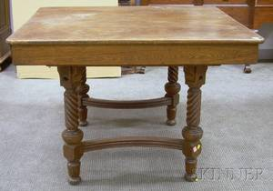 Paine Furniture Late Victorian Square Oak Dining Table with Ropeturned Legs