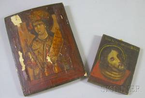 Painted Wooden Icon Depicting St John the Baptist and a Russian Painted Gesso on Wood Icon