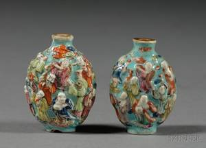 Two Chinese Porcelain Snuff Bottles and Two Chinese Export Silver Vases