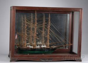 Mahogany and Glass Cased Carved and Painted Wooden ThreeMasted Sailing Ship Betty P