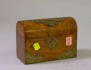 Small British Brassmounted Dometop Burl Wood Veneer Letter Box